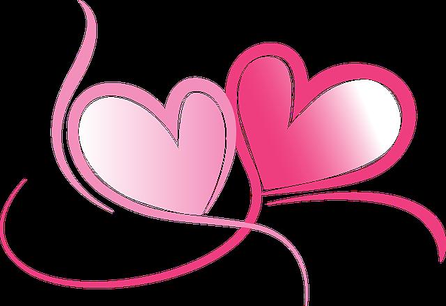 dvě růžová spojená srdce – láska